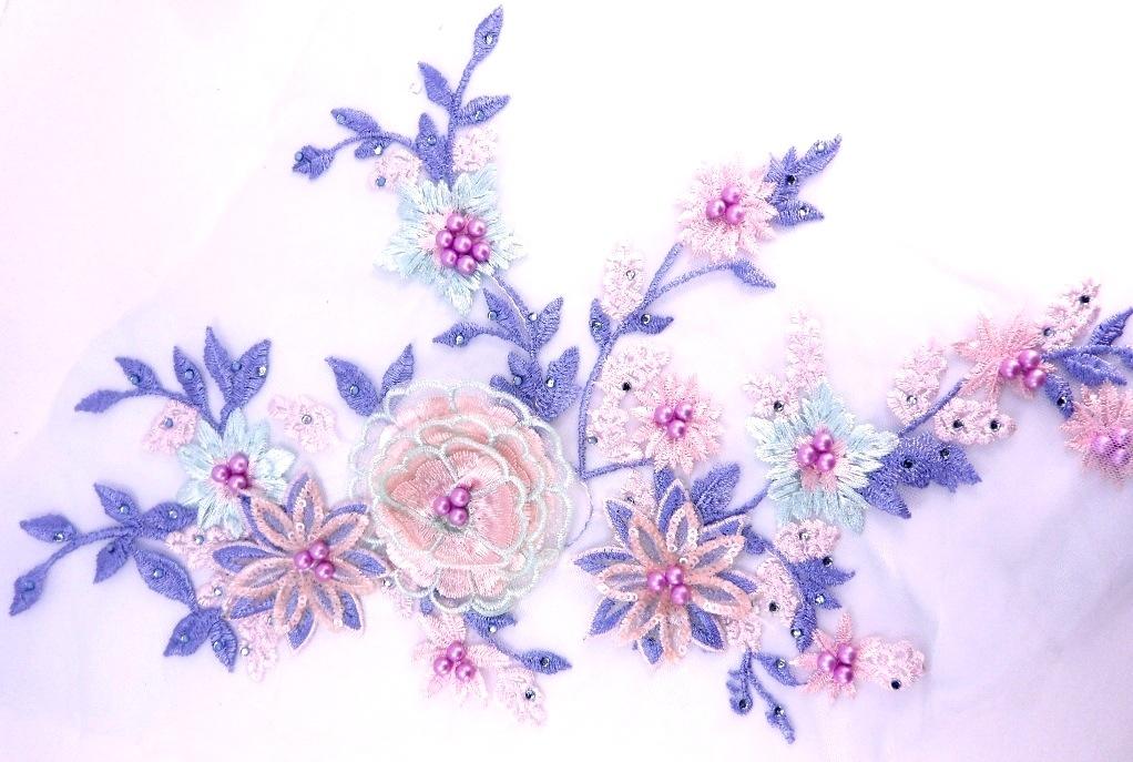 """Mirror Pair Appliques Purple Floral Venise Lace  9.5"""" (GB455X-pur)"""