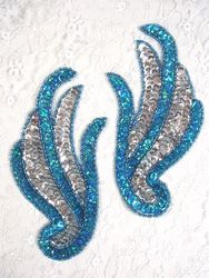 """0072 Turquoise & Silver Mirror Pair Sequin Beaded Appliques 5.5"""""""
