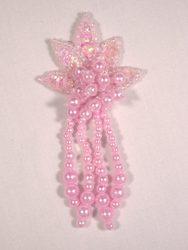"""0073  Pink Leaf Dangle Sequin Beaded Applique 3"""""""