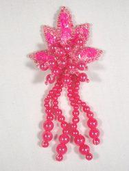 """0073  Hot Neon Pink Leaf Dangle Sequin Beaded Applique 3"""""""