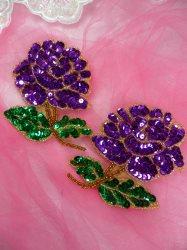 0074 Purple Rose Mirror Pair Sequin Beaded Appliques