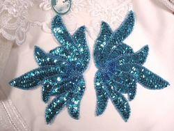 0079 Turquoise Sea Weed Mirror Pair Sequin Beaded Applique 6""