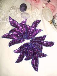 "0079 Purple Sea Weed Mirror Pair Sequin Beaded Applique 6"""