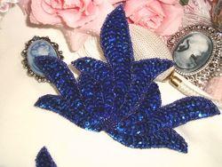 "0079 Blue Sea Weed Mirror Pair Sequin Beaded Applique 6"""