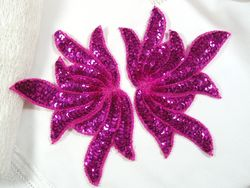 0079 Fuchsia Sea Weed Mirror Pair Sequin Beaded Applique 6""