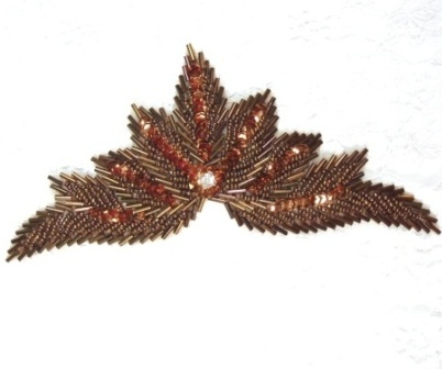 """High Quality Sequin Bugle Beaded Applique Bronze Crystal Rhinestone Center Clothing Patch Motif 7"""" 0084"""