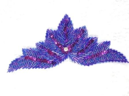 """High Quality Sequin Bugle Beaded Applique Purple Crystal Rhinestone Center Clothing Patch Motif 7"""" 0084"""