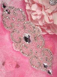 "0087 REDUCED Rosezana Silver Beaded Pearl Crystal Rhinestone Applique 8"""