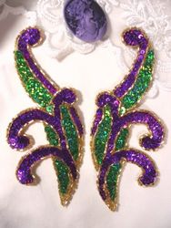 "0097  Purple & Green Mirror Pair Sequin Beaded Appliques 5.5"""