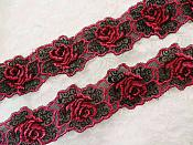 "Embroidered Lace Floral Trim Fuscia Black 1.75"" (BL113)"