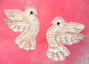 "Sequin Beaded White Dove Applique Mirror Pair 2""  (0100X)"