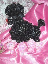 """0105  Black Poodle Beaded Sequin Applique 6"""""""