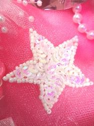 "White AB Star Applique 1.5"" Sequin Beaded JB71"