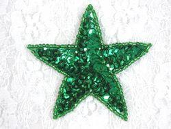 "0112  Kelly Green Star Beaded Sequin Applique 2.5"""