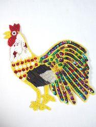 "0119  Rooster Beaded Sequin Applique 6"""