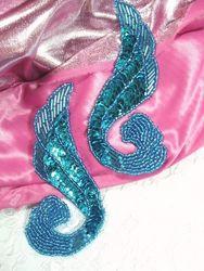 "0123  Turquoise Mirror Pair Sequin Beaded Appliques 4.25"""