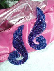 """0123 Purple Mirror Pair Sequin Beaded Appliques 4.25"""""""