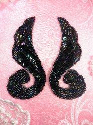 0123 Black AB Aurora Borealis Iris Swirl Mirror Pair Sequin Beaded Appliques