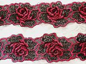 "Embroidered Lace Floral Trim Fuchsia Black 1.75"" (BL113)"
