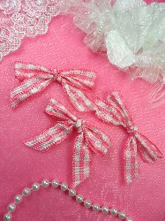 """0141 Set of 3 Gingham Ribbon Pink And White Plaid Boutique Bows 2.5"""""""