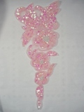 """Pink Pearl Floral (Left) 12"""" Sequin Beaded Applique 0162"""