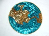 Turquoise & Gold World Sequin Beaded Appliques 0164
