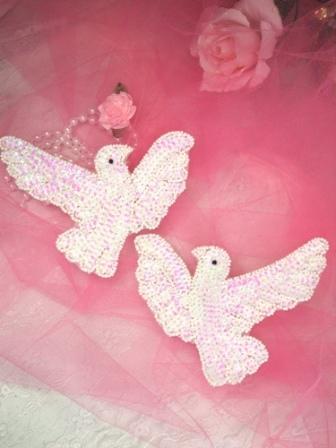 0165 White Dove Mirror Pair Sequin Beaded Appliques