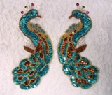 0167 Turquoise Peacock Mirror Pair Sequin Beaded Appliques