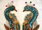 Aqua Peacock Mirror Pair Sequin Beaded Appliques (0167X)