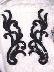 "Sequin Appliques Black Mirror Pair Beaded Dance Costume Motifs 9"" XR392X"