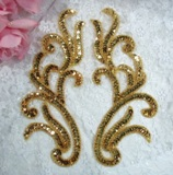 "Gold Appliques Mirror Pair Sequin Beaded Sewing Crafts Patch Motif 8.5""  XR392X"