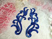 "Appliques Blue Holographic Sequin Mirror Pair Beaded Motifs 9"" (0170X)"