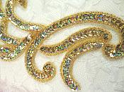 "Appliques Gold Holographic Sequin Mirror Pair Beaded Motifs 9"" (0170X)"