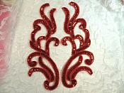 """Red Holographic Sequin Appliques Beaded Mirror Pair Costume Motif  9"""" (0170X)"""