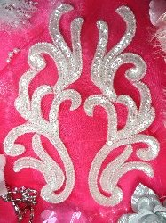 """0170 Crystal Mirror Pair Sequin Beaded Appliques 9"""""""