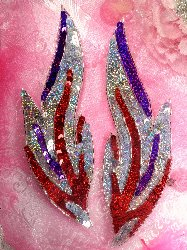 """0173 Red Hat Flames of Fire Mirror Pair Beaded Sequin Appliques 9.5"""""""