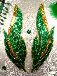 """0173 Flames of Fire Mirror Pair Sequin Beaded Appliques Green and Gold 9.5"""""""