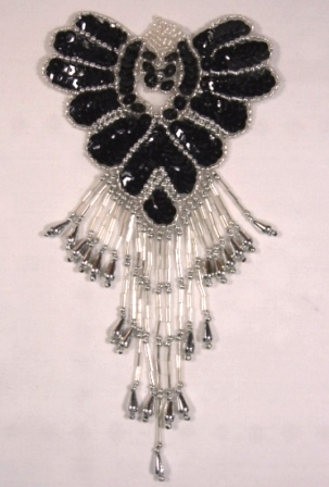 Black & Silver Epaulet  Sequin Beaded Applique 0178