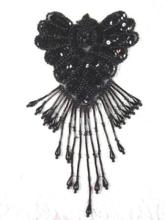 "Epaulet Applique Sequin Beaded Black Shoulder Motif Patch 8"" 0178"