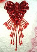 """Epaulet Sequin Applique w/ long Dangle Accent Beads Red Sewing Patch 8"""" (0178)"""