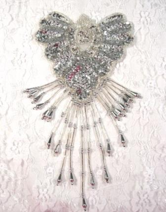 "0178  Silver Epaulet Sequin Beaded Applique 8"""