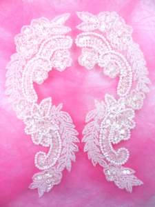 0180 Appliques Crystal Mirror Pair Sequin Beaded 8.25""