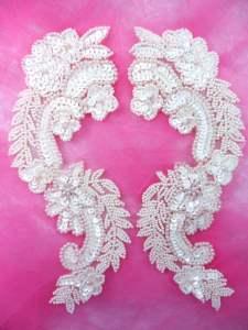 "0180 Appliques Ivory Mirror Pair Sequin Beaded 8.25"""