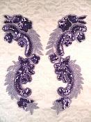 "Lavender Metallic Sequin Dance Appliques w/ Beads Mirror Pair Sewing Motifs 8"" (0180X)"