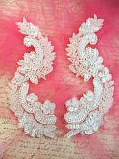"White Sequin Bridal Appliques w/ Ivory Beads Mirror Pair Motifs 8"" (0180X)"