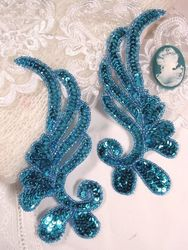 "0182 Turquoise Mirror Pair Sequin Beaded Appliques 6"""