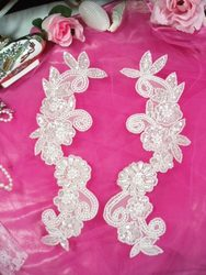 Crystal and Pearl  Mirror Pair Sequin Beaded Appliques 0183