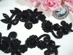 0183 Black Mirror Pair Sequin Beaded Appliques