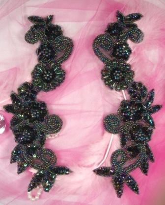0183 Black AB Mirror Pair Sequin Beaded Appliques