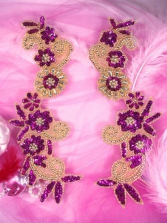 0183  Fuchsia Gold Mirror Pair Sequin Beaded Appliques